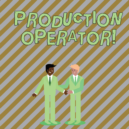 Photo for Word writing text Production Operator. Business photo showcasing control equipment used in the analysisufacturing process Two Businessmen Standing, Smiling and Greeting each other by Handshaking - Royalty Free Image
