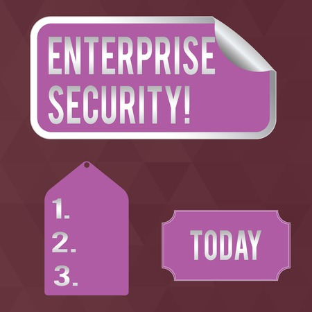 Writing note showing Enterprise Security. Business concept for decreasing the risk of unauthorized access to data Color Label Self Adhesive Sticker with Border Corner and Tag