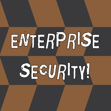 Word writing text Enterprise Security. Business photo showcasing decreasing the risk of unauthorized access to data Seamless Slanting Squares in Brown and Gray Alternate Color Creating Depth