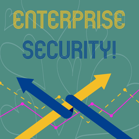 Conceptual hand writing showing Enterprise Security. Concept meaning decreasing the risk of unauthorized access to data Two Arrows One Intertwined to Other Team Up or Competition