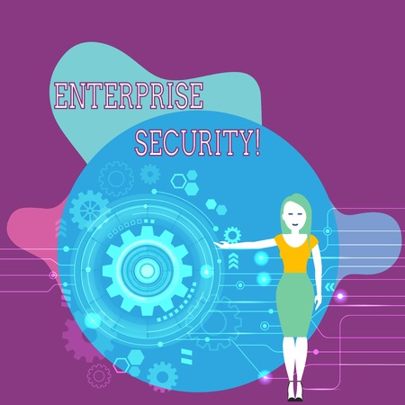 Text sign showing Enterprise Security. Business photo text decreasing the risk of unauthorized access to data Woman Standing and Presenting the SEO Process with Cog Wheel Gear inside
