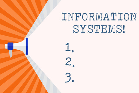Text sign showing Information Systems. Business photo text study of systems with a exact reference to information Megaphone Extending the Capacity of Volume Range thru Blank Space Wide Beam