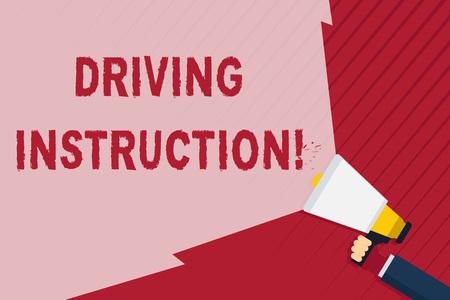 Handwriting text writing Driving Instruction. Conceptual photo detailed information on how driving should be done Hand Holding Megaphone with Blank Wide Beam for Extending the Volume Range