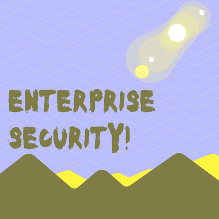 Word writing text Enterprise Security. Business photo showcasing decreasing the risk of unauthorized access to data View of Colorful Mountains and Hills with Lunar and Solar Eclipse Happening