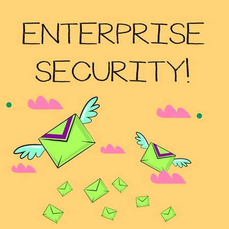 Word writing text Enterprise Security. Business photo showcasing decreasing the risk of unauthorized access to data Many Colorful Airmail Flying Letter Envelopes and Two of Them with Wings