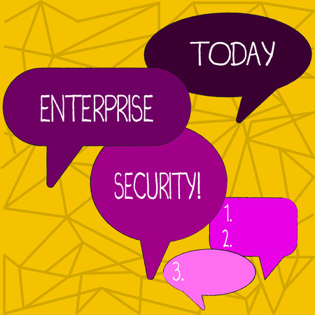 Writing note showing Enterprise Security. Business concept for decreasing the risk of unauthorized access to data Speech Bubble in Different Sizes and Shade Group Discussion