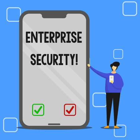Handwriting text writing Enterprise Security. Conceptual photo decreasing the risk of unauthorized access to data Man Presenting Huge Blank Screen Smartphone while Holding Another Mobile