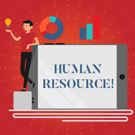 Photo pour Writing note showing Human Resource. Business concept for the process of hiring and developing employees Man Leaning on Smartphone Turned on Side Graph and Idea Icon - image libre de droit