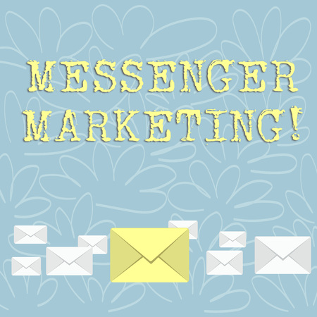 Writing note showing Messenger Marketing. Business concept for act of marketing to your customers using a messaging app Color Envelopes in Different Sizes with Big one in Middle