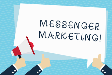 Conceptual hand writing showing Messenger Marketing. Concept meaning act of marketing to your customers using a messaging app Hand Holding Megaphone and Gesturing Thumbs Up Text Balloon