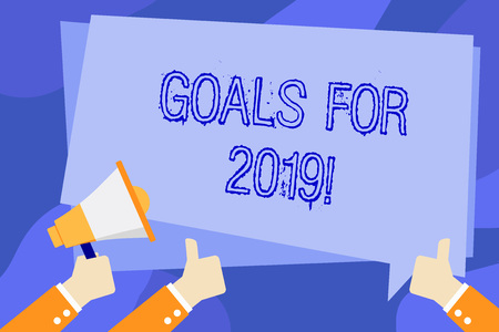 Photo pour Writing note showing Goals For 2019. Business concept for object of demonstratings ambition or effort aim or desired result Hand Holding Megaphone and Gesturing Thumbs Up Text Balloon - image libre de droit