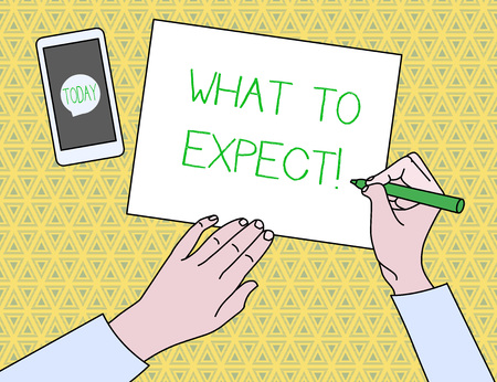 Text sign showing What To Expect. Business photo text asking about regard something as likely to happen occur