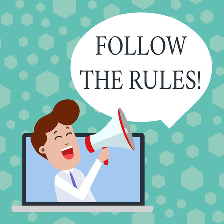 Photo pour Text sign showing Follow The Rules. Business photo showcasing go with regulations governing conduct or procedure - image libre de droit