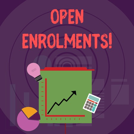 Writing note showing Open Enrolments. Business concept for when employees may make changes to elected fringe benefit Investment Icons of Pie and Line Chart with Arrow Going Up