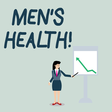 Foto de Conceptual hand writing showing Men S Health. Concept meaning state of complete physical mental and social well being by analysis Woman Holding Stick Pointing to Chart of Arrow on Whiteboard - Imagen libre de derechos