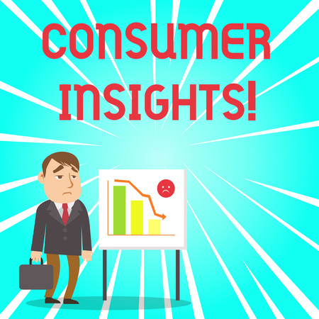 Handwriting text Consumer Insights. Conceptual photo understanding customers based on their buying behavior Businessman Clerk with Brief Case Standing Whiteboard Declining Bar Chart