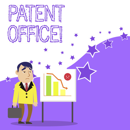 Photo for Text sign showing Patent Office. Business photo showcasing a government office that makes decisions about giving patents Businessman Clerk with Brief Case Standing Whiteboard Declining Bar Chart - Royalty Free Image