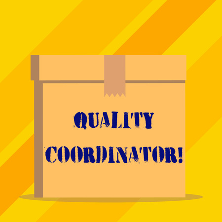 Writing note showing Quality Coordinator. Business concept for monitor and improve the quality of analysisufactured products