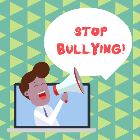 Photo pour Word writing text Stop Bullying. Business photo showcasing stop the aggressive behaviour among school aged children Man Speaking Through Laptop into Loudhailer Blank Speech Bubble Announce - image libre de droit