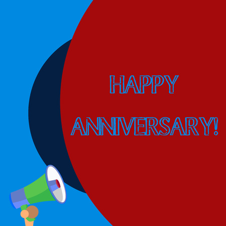 Handwriting text Happy Anniversary. Conceptual photo The annually recurring date of a past event celebration Old design of speaking trumpet loudspeaker for talking to audience outdoor