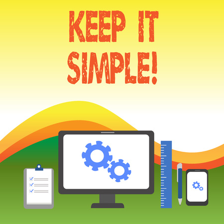 Photo pour Text sign showing Keep It Simple. Business photo text ask something easy understand not go into too much detail Business Concept PC Monitor Mobile Device Clipboard Ruler Ballpoint Pen - image libre de droit