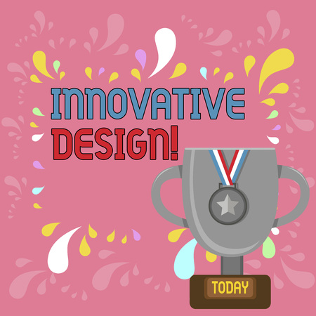 Photo for Word writing text Innovative Design. Business photo showcasing application of better solutions that meet new requirements Trophy Cup on Pedestal with Plaque Decorated by Medal with Striped Ribbon - Royalty Free Image