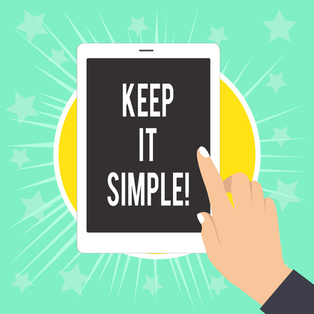 Photo pour Writing note showing Keep It Simple. Business concept for ask something easy understand not go into too much detail Female Hand with White Polished Nails Pointing Finger Tablet Screen Off - image libre de droit