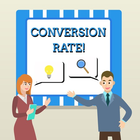 Handwriting text Conversion Rate. Conceptual photo number of visitors to a website that meet the desired goal Business Partners Colleagues Jointly Seeking Problem Solution Generate Idea