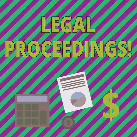 Writing note showing Legal Proceedings. Business concept for procedure instituted in a court of law to acquire benefit Dollar Investment in Gold and Presenting Data thru Pie Chart
