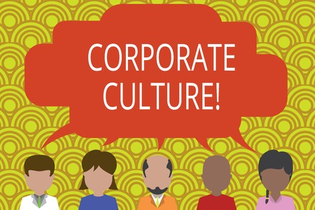 Photo pour Conceptual hand writing showing Corporate Culture. Concept meaning Beliefs and ideas that a company has Shared values Five different persons sharing speech bubble People talking - image libre de droit