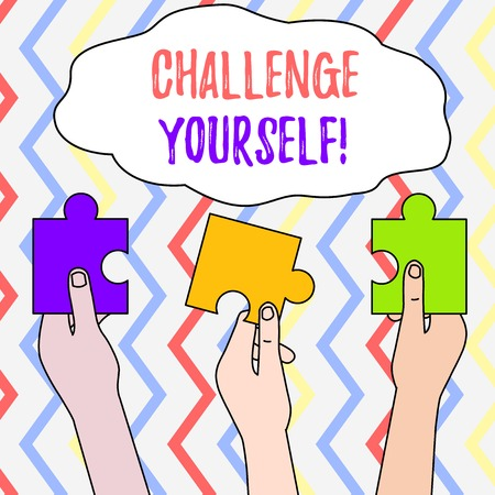 Photo pour Handwriting text Challenge Yourself. Conceptual photo Setting Higher Standards Aim for the Impossible Three Colored Empty Jigsaw Puzzle Pieces Held in Different People Hands - image libre de droit