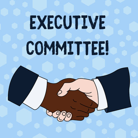 Word writing text Executive Committee. Business photo showcasing Group of Directors appointed Has Authority in Decisions Hand Shake Multiracial Male Business Partners Colleagues Formal Shirt Suit