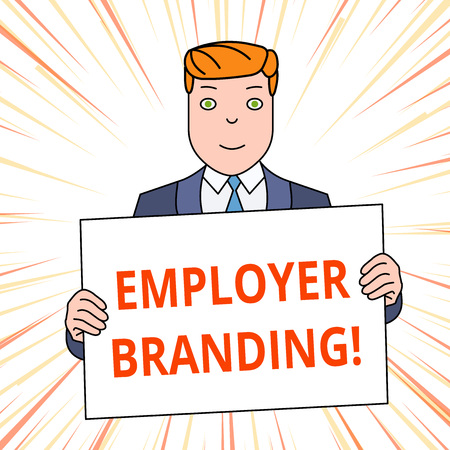 Photo pour Handwriting text Employer Branding. Conceptual photo promoting company employer choice to desired target group Smiling Man Holding Formal Suit Big Blank Poster Board in Front of Himself - image libre de droit