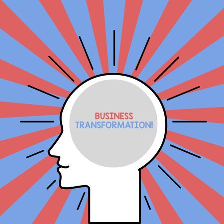 Photo for Text sign showing Business Transformation. Business photo showcasing Align their Trade models with Strategy Improvement Outline Silhouette Human Head Surrounded by Light Rays Blank Text Space - Royalty Free Image