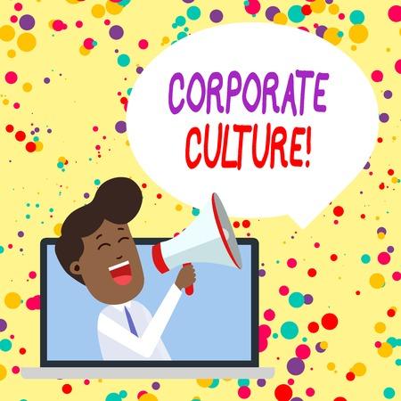 Photo pour Conceptual hand writing showing Corporate Culture. Concept meaning Beliefs and ideas that a company has Shared values Man Speaking Through Laptop into Loudhailer Bubble Announce - image libre de droit