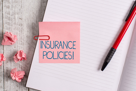 Photo pour Word writing text Insurance Policies. Business photo showcasing Documented Standard Form Contract Financial Reimbursement Thick pages notebook stationary placed above classic look wooden backdrop - image libre de droit