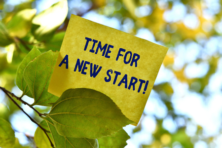 Photo pour Word writing text Time For A New Start. Business photo showcasing something is supposed to begin right now Fresh job Piece of square paper use to give notation on tree leaf under sunny day - image libre de droit