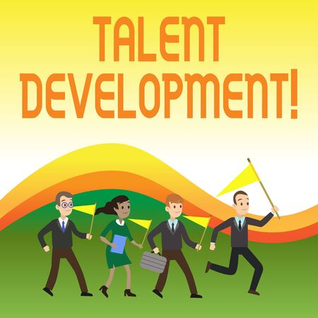 Photo pour Writing note showing Talent Development. Business concept for Building Skills Abilities Improving Potential Leader Crowd Flags Headed by Leader Running Demonstration Meeting - image libre de droit