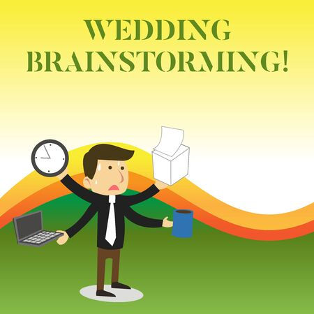 Photo for Text sign showing Wedding Brainstorming. Business photo showcasing Getting married in an economical breaking the bank Stressed Out Male Employee Manager Many Armed Multitasking Meet Deadline - Royalty Free Image