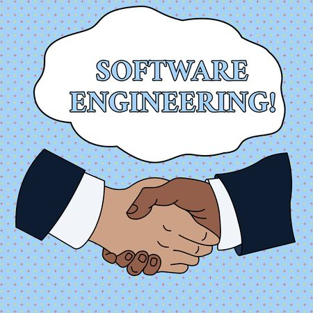 Word writing text Software Engineering. Business photo showcasing Program Development in Systematic Quantifiable approach Hand Shake Multiracial Male Business Partners Colleagues Formal Shirt Suit