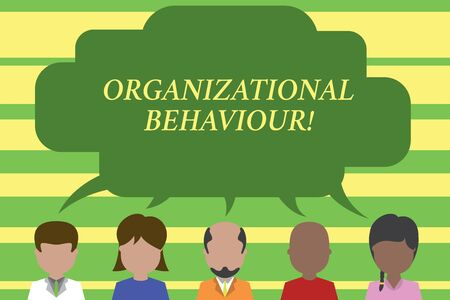 Photo pour Text sign showing Organizational Behaviour. Business photo text the study of the way showing interact within groups Five different races persons sharing blank speech bubble. People talking - image libre de droit