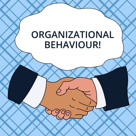 Photo pour Writing note showing Organizational Behaviour. Business concept for the study of the way showing interact within groups Hand Shake Multiracial Male Colleagues Formal Shirt Suit - image libre de droit