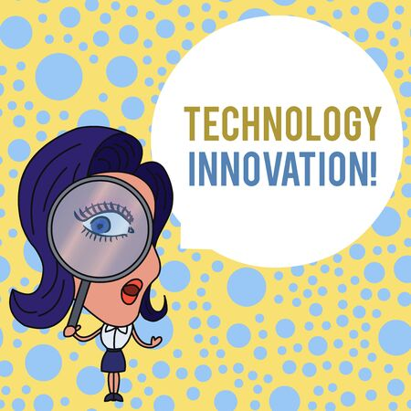 Photo for Word writing text Technology Innovation. Business photo showcasing advanced net connected devices a Creative Technique Woman Looking Trough Magnifying Glass Big Eye Blank Round Speech Bubble - Royalty Free Image