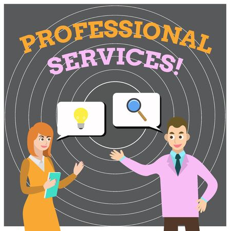 Conceptual hand writing showing Professional Services. Concept meaning offer Knowledge based help some require Licensed Business Partners Colleague Jointly Seeking Problem Solution