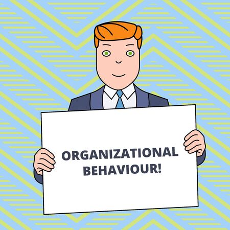 Photo pour Text sign showing Organizational Behaviour. Business photo showcasing the study of the way showing interact within groups Smiling Man Holding Formal Suit Big Blank Poster Board in Front of Himself - image libre de droit
