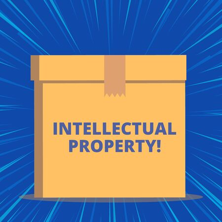 Photo for Writing note showing Intellectual Property. Business concept for Protect from Unauthorized use Patented work or Idea Close up front view brown cardboard sealed box lid. Blank background - Royalty Free Image