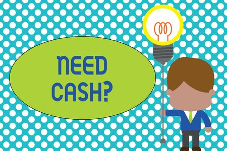 Foto de Word writing text Need Cash Question. Business photo showcasing asking someone if you need extra money or dont Standing man tie holding plug socket light bulb to connect idea. Startup - Imagen libre de derechos