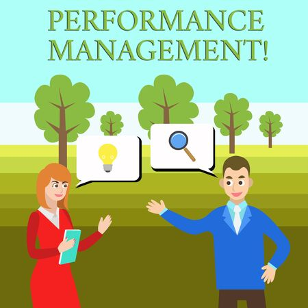 Word writing text Perforanalysisce Management. Business photo showcasing Improve Employee Effectiveness overall Contribution Business Partners Colleagues Jointly Seeking Problem Solution Generate Idea