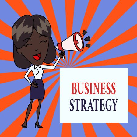 Photo pour Text sign showing Business Strategy. Business photo text Management game plan to achieve desired goal or objective Young Woman Speaking into Blowhorn Volume Icon Colored Backgdrop Text Box - image libre de droit