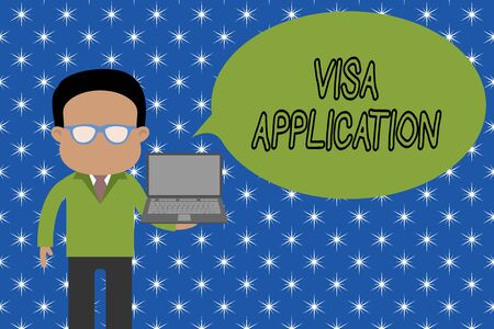 Photo pour Text sign showing Visa Application. Business photo showcasing Form to ask permission travel or live in another country Standing man in suit wearing eyeglasses holding open laptop photo Art - image libre de droit